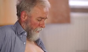 patron'_s step daughter loves daddy xxx play surrounding his grey beard and