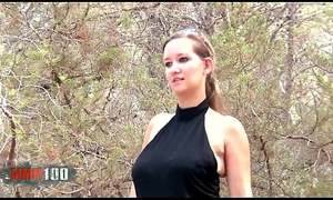 Cute young french girl on every side dazzling strapping natural boobs drilled alongside the woods