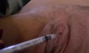 Hurting my canny clit with a small needle